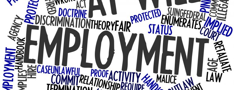 Abstract word cloud for At-will employment with related tags and terms